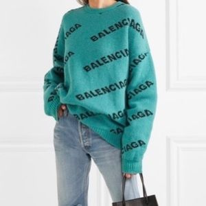 Teal Balenciaga all-over Knit Sweater